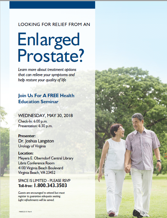 Learn Treatment Options for an Enlarged Prostate at a Free Health Seminar May 30th