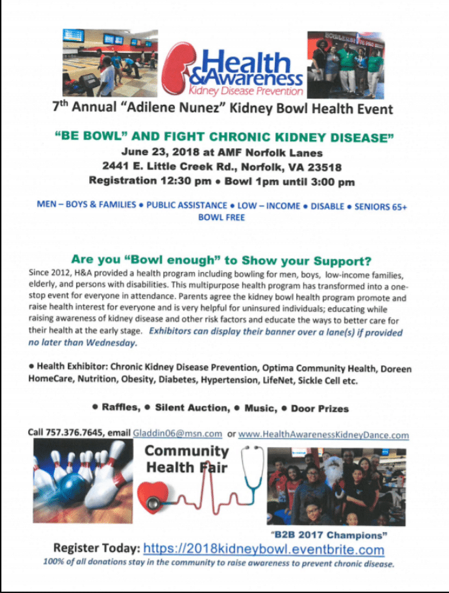 "Are You ""Bowl enough"" to Fight Chronic Kidney Disease? Join Us Saturday, June 23rd at AMF Norfolk Lanes"