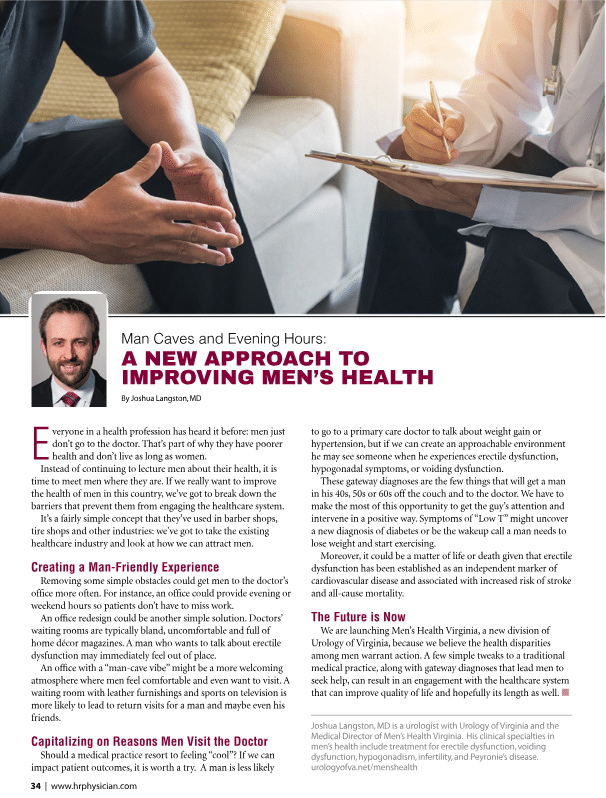 Urology of Virginia's Own Dr. Langston Featured in Hampton Roads Physician's Magazine