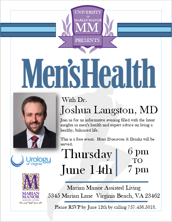 Dr. Langston of Urology of Virginia to Address the Community on Men's Health Issues