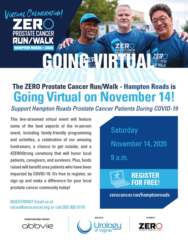 The ZERO Prostate Cancer Run/Walk - Hampton Roads is Going Virtual on November 14!